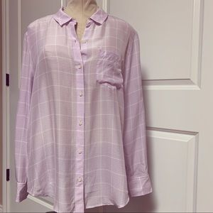 Madewell Broadway Broome Silk Plaid Purple Shirt L